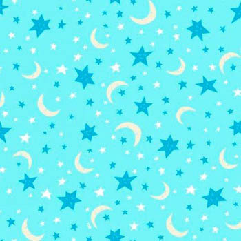 Owl Flannel Nursery - Moon & Stars Blue Flannel Fabric