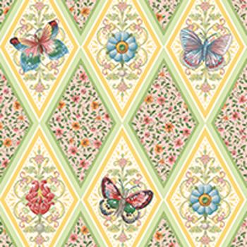 Flutter Fantasy by Quilting Treasures - Butterfly Diamonds Pink