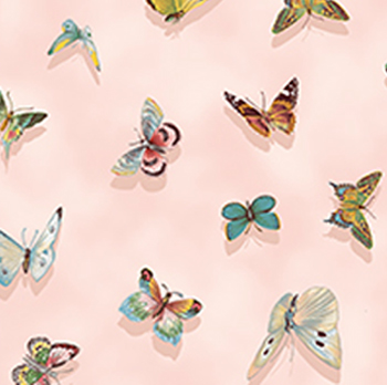 Flutter Fantasy by Quilting Treasures - Butterflies On Pink