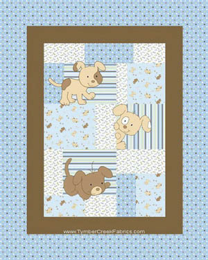 Peek a Boo Playful Puppies - Blue Cot Panel Flannel
