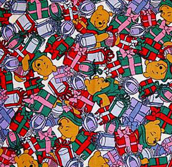 Disney Pooh's Christmas Holiday - Pooh & Presents - Pre-Quilted