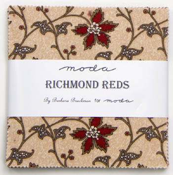 Richmond Reds by Barbara Brackman for Moda - Charm Squares