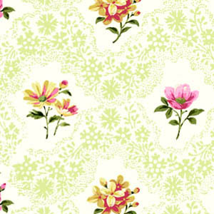 Romantic Hearts Floral with Green by Classic Cottons