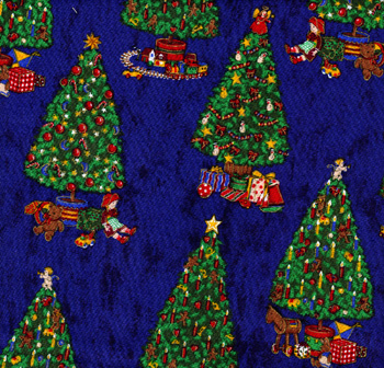Rose & Hubble Christmas Decorated Trees on Blue - Per Metre