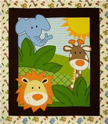 Safari by Springs - Animal Fun Cot Panel Flannel