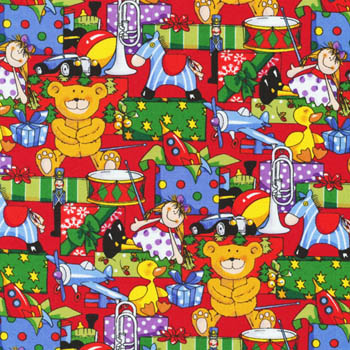 Santa's Workshop by Fabri-Quilt - Packed Toys & Presents on Red