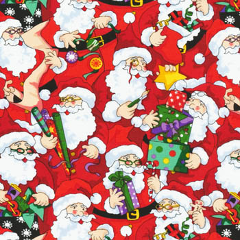 Santa's Workshop by Fabri-Quilt - Santas on Red
