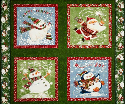 Seasons Greetings Fabri-Quilt Santas & Snowmen Set of 4 Panels