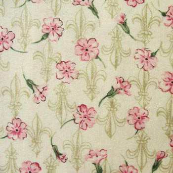 Shakespeare's Flowers by Fabric Freedom Fleur de Lis Pink