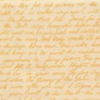 Shakespeare's Flowers by Fabric Freedom Handwriting Yellow