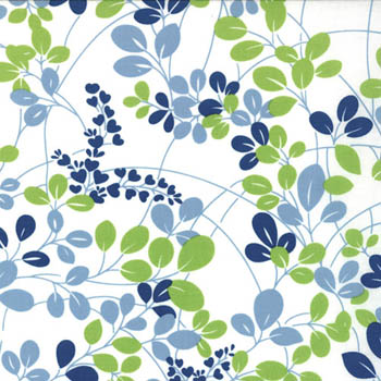 Simply Color by Moda Fabrics - Leaves Sprigs White Navy Lime