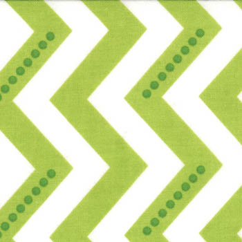 Simply Color by Moda Fabrics - Dotted Zig Zag White Lime Green