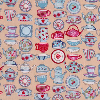 Tea Time by Makower Fabrics - China on Dark Cream