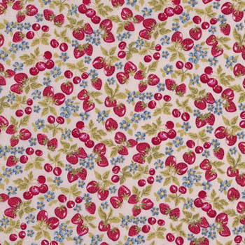 Tea Time by Makower Fabrics - Strawberries on Cream