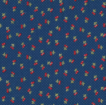 Tea Time by Makower Fabrics - Cherry on Dark Blue