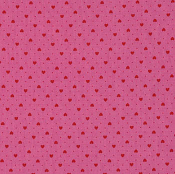Tea Time by Makower Fabrics - Red Pink Hearts On Pink