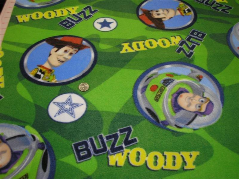 Disney Toy Story - Buzz & Woody on Green Polar Fleece