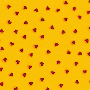 Two by Two by Fabri-Quilt - Tiny Red Hearts on Sunshine Yellow