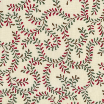 A Very Berry Christmas Moda Fabric - Red & Green on Ivory