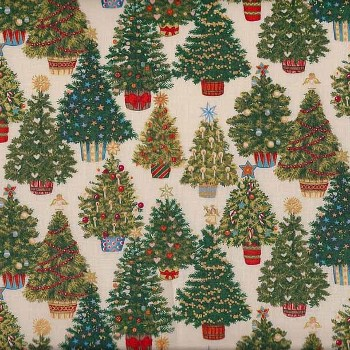 Vintage Christmas by Makower - Trees Cream