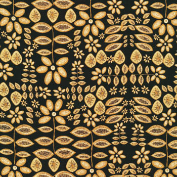 Woodblock by Fabri-Quilt - Leaves On Black
