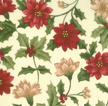 Woodland Holiday by Moda - Christmas Flowers on Ivory