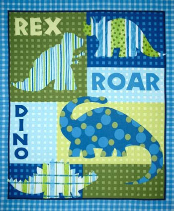 Dinosaur Flannel Nursery - Dinos Roar Cot Panel Flannel