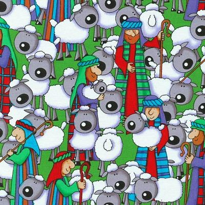 Seasons Greetings by Fabri-Quilt - Shepherds & Sheep on Green