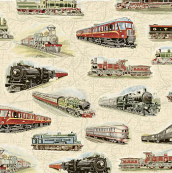 Locomotion by Benartex Fabrics - Whistle Stop Sand