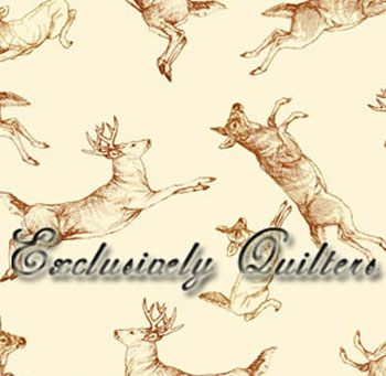 Whitetail Valley by Exclusively Quilters - Deer Allover on Cream