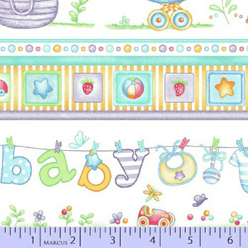 Baby Boy Cotton Flannel Fabric by Marcus - Nursery Border Stripe