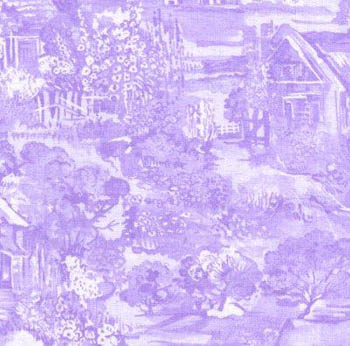 A Country Garden by Fabric Freedom Country Cottage Scenic Lilac
