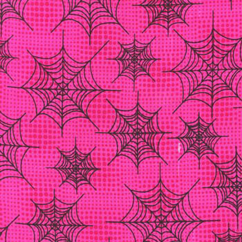 Eerie Alley by Robert Kaufman - Black Spiders Web on Hot Pink
