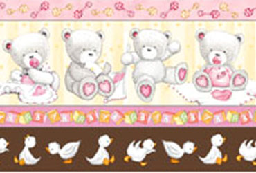 Popcorn Baby Bear Hugs by QT- Border Stripe Pink/Brown