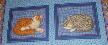 Cats on Blue - Set of 2 Panels - One Tabby Cat & One Ginger