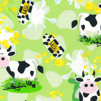 Cuddle Print Flannel by Fabri-Quilt - Cows On Green