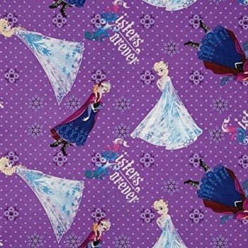 Disney Frozen Fabric - Sisters Elsa And Anna Forever - Purple