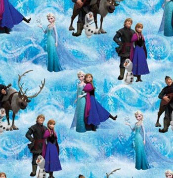 Disney Frozen Fabric - Character Scenic - Blue