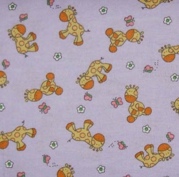 Giraffe Butterfly Mauve 100% Cotton Flannel