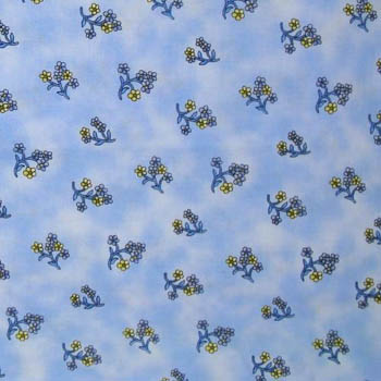 Fleurette Benartex Fabric - Floral Nosegay on Blue
