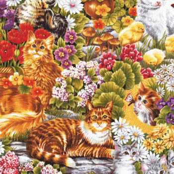Furry Friends by Fabri-Quilt Fabrics - Cats Flower Garden
