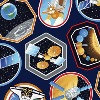 I Want My Space - Space Decals Dark Blue - 150cms Wide