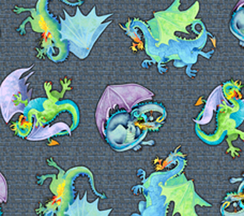 Merlin's Dragons by Quilting Treasures - Dragons Steel Blue