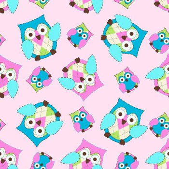 Owl Flannel Nursery - Tossed Owls on Pink Flannel Fabric