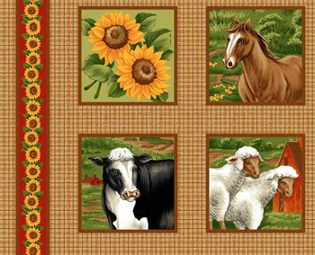 Farm Animals Blocks/Labels - Horses, Cows, Sheep & Sunflowers