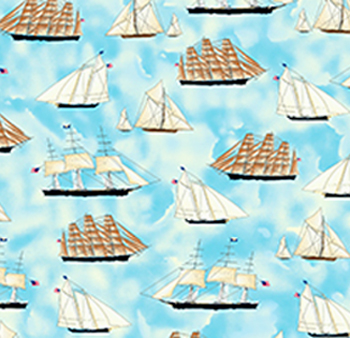 Sailing by Quilting Treasures - Blue