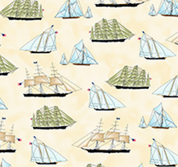 Sailing by Quilting Treasures - Cream