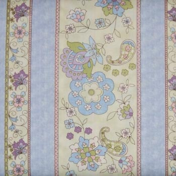 Colette by Timeless Treasures - Floral Stripe Blue