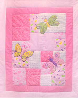 3D Nursery - Butterfly Baby - Applique Flannel Cot Panel